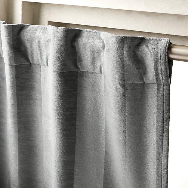 "Grey Stripe Velvet Curtain Panel 48""x96"" - Image 1 of 2"