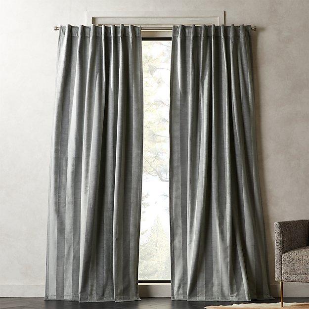 Grey Stripe Velvet Curtain Panel - Image 1 of 2
