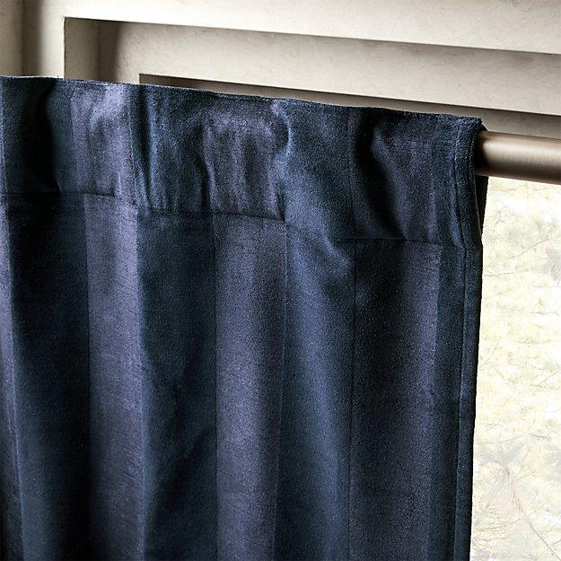 """Navy Stripe Velvet Curtain Panel 48""""x120"""" - Image 1 of 4"""