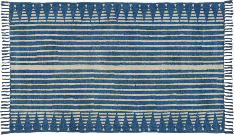 Verso Indigo Blue Striped Rug