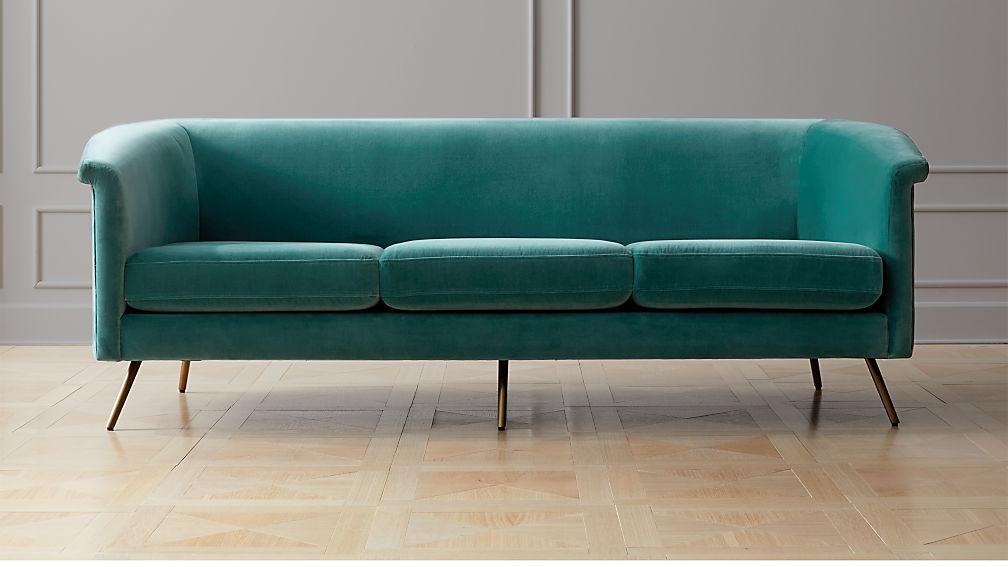 Vicente Teal Velvet Sofa - Image 1 of 7