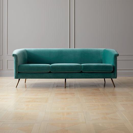 Vicente Teal Velvet Sofa