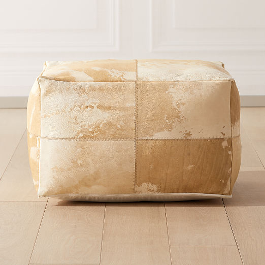 Vintage Light Hide Pouf
