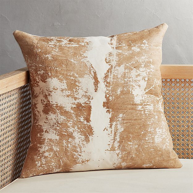 "20"" Vintaged Light Hide Pillow - Image 1 of 7"