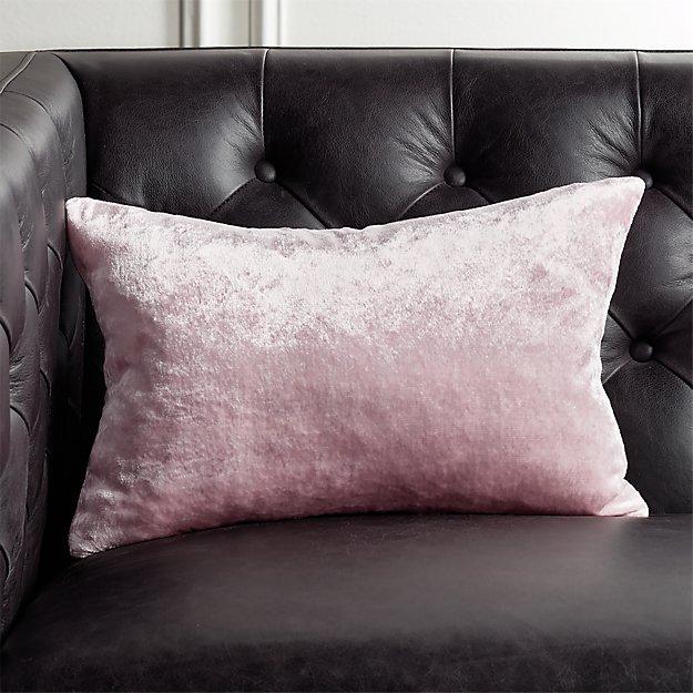 "18""x12"" Viscose Pink Velvet Pillow - Image 1 of 4"