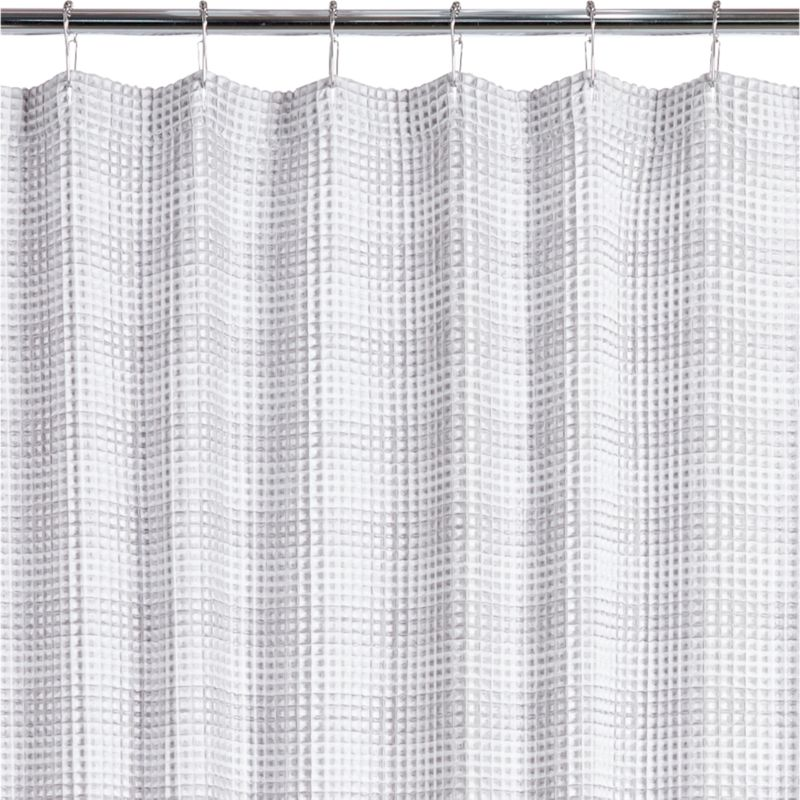 Superbe White And Grey Waffle Weave Shower Curtain