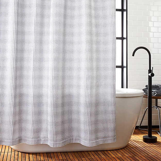 White And Grey Waffle Weave Shower Curtain Reviews