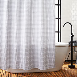 White And Grey Waffle Weave Shower Curtain