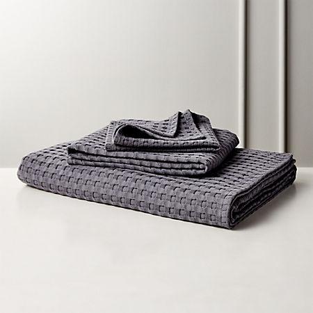 Grand Grey Waffle Weave Bath Towels