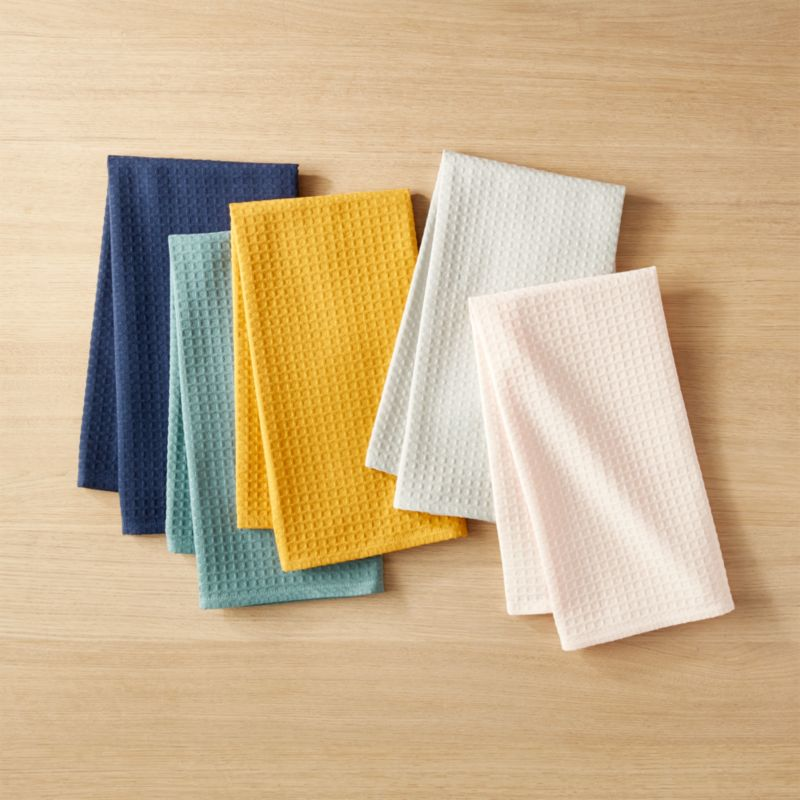 Waffle Weave Colorful Kitchen Towels Set Of 5 + Reviews