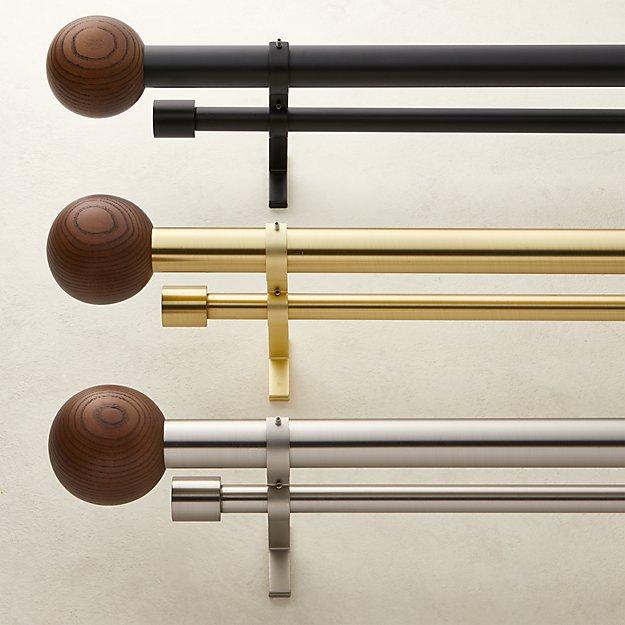 Walnut Finial Double Rod Curtain Rod Set - Image 1 of 4