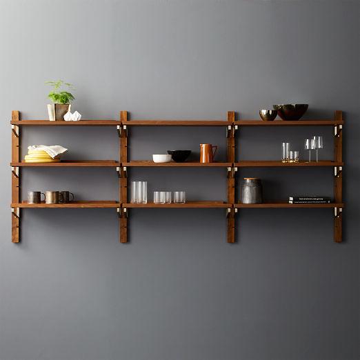 "Walnut Modular Triple Shelf 39.5"""