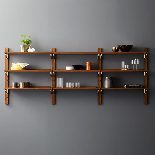 Walnut Modular Triple Shelf 39.5""