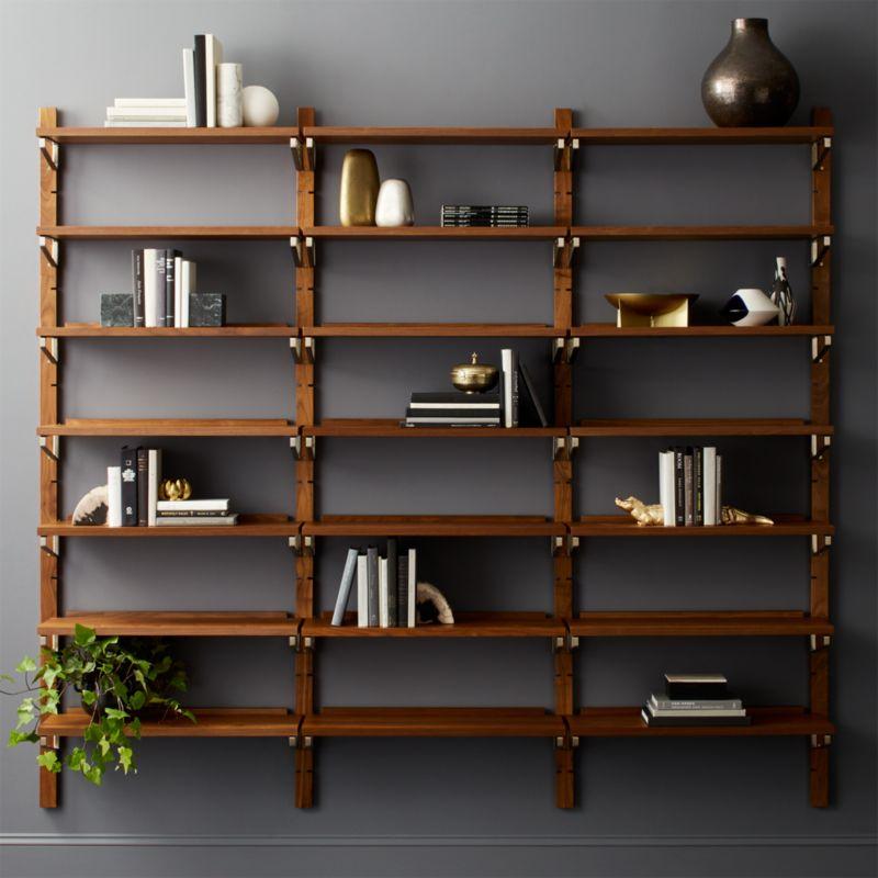 Walnut Modular Triple Shelf 88 Quot Reviews Cb2