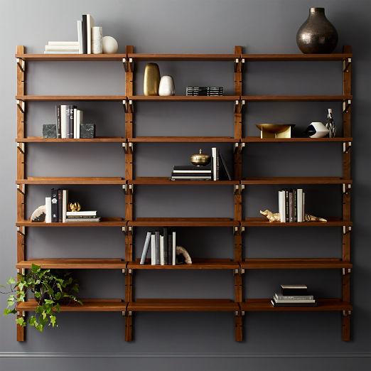 "Walnut Modular Triple Shelf 88"""