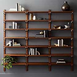 walnut modular triple shelf 88 - Bookshelves Wall Mounted
