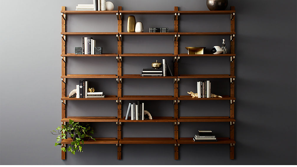 "Walnut Modular Triple Shelf 88"" - Image 1 of 12"