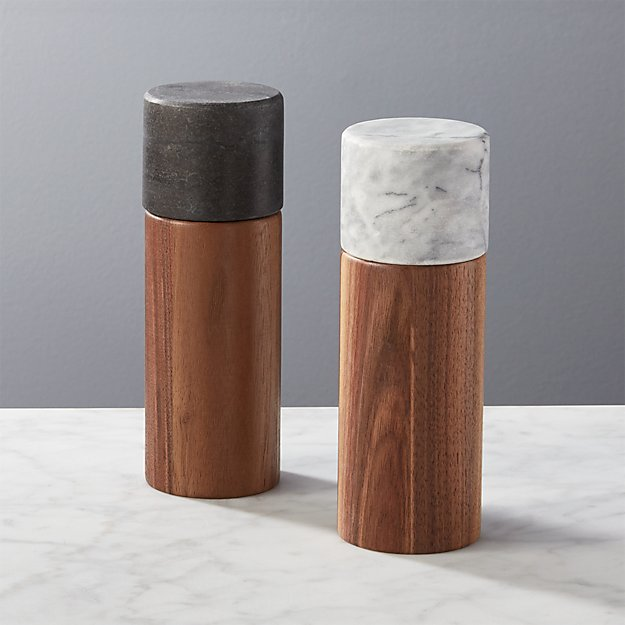 2 piece walnut and marble salt and pepper grinder set of 2 reviews cb2. Black Bedroom Furniture Sets. Home Design Ideas