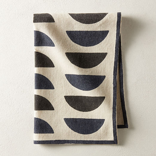 Waning Block Print Tea Towel