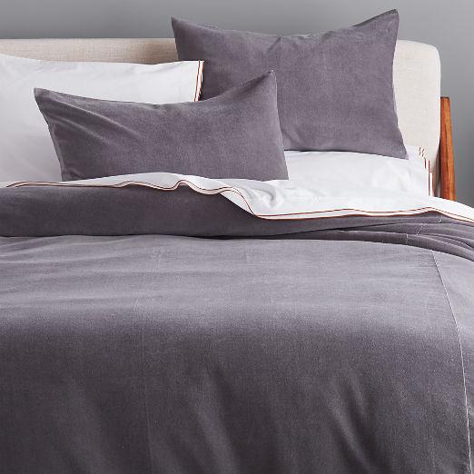 Grey Washed Velvet Duvet Cover
