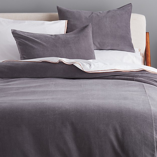 Grey Washed Velvet Bedding - Image 1 of 2