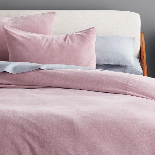 Mauve Washed Velvet Bedding