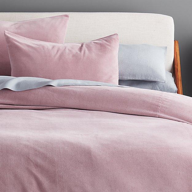 Mauve Washed Velvet Bedding - Image 1 of 3