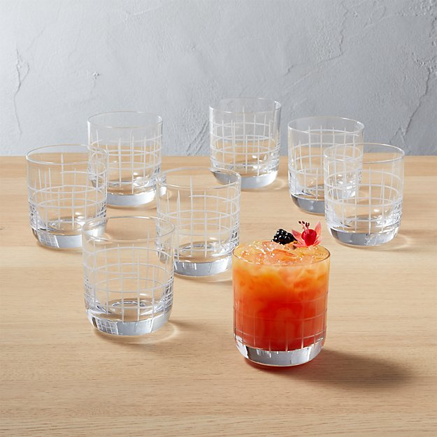 Watson Etched Double Old-Fashioned Glass Set of 8 - Image 1 of 11