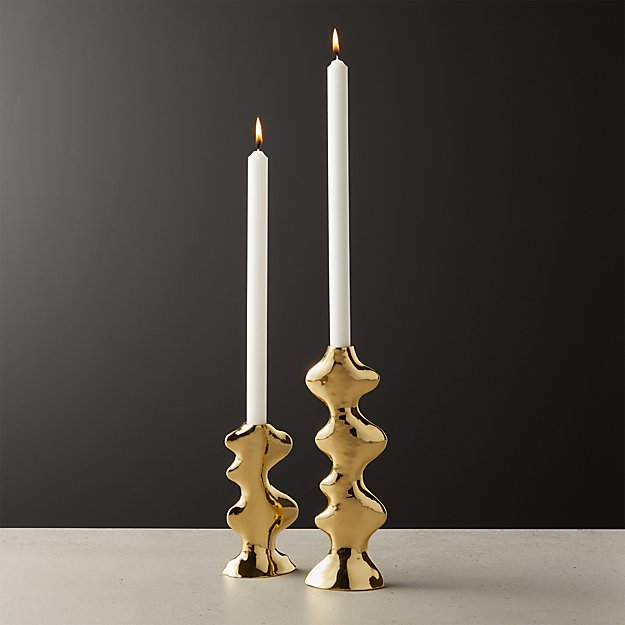 Waves Brass Taper Candle Holders - Image 1 of 8