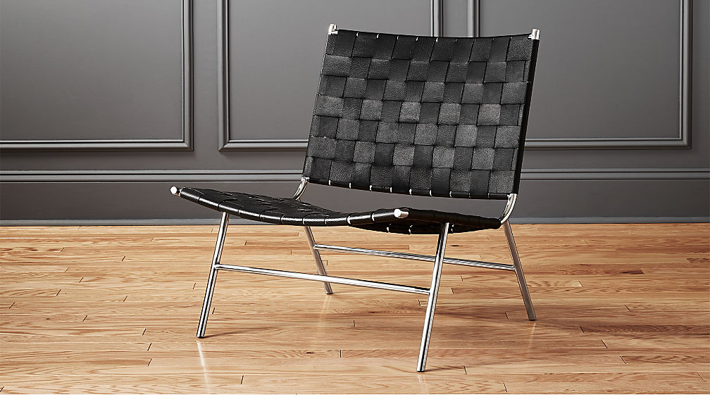 Black Woven Leather Chair Reviews Cb2