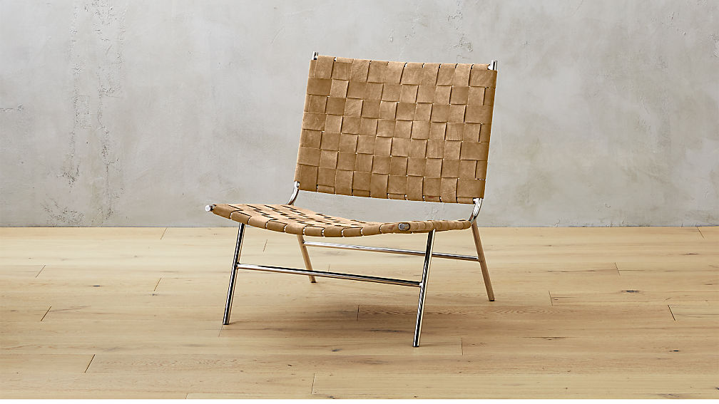 Well-known woven camel brown suede chair + Reviews | CB2 VL81