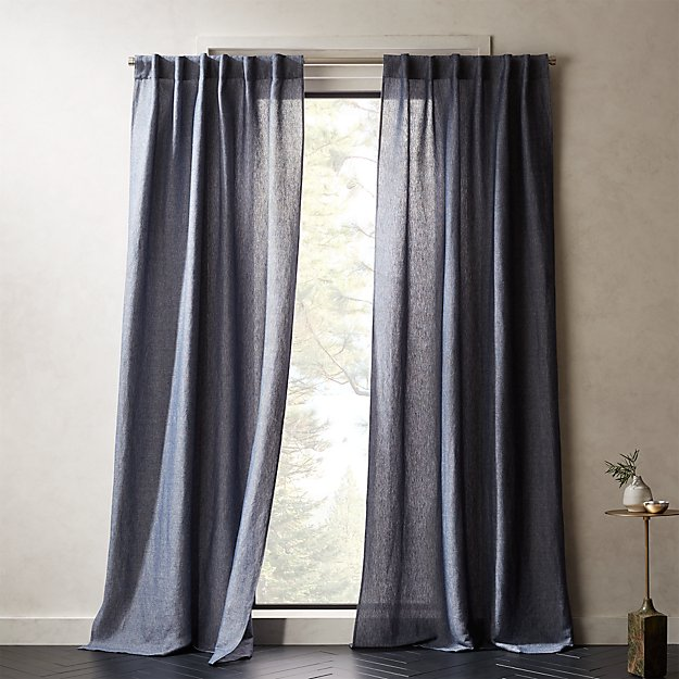 Weekendr Blue Chambray Curtain Panel - Image 1 of 2