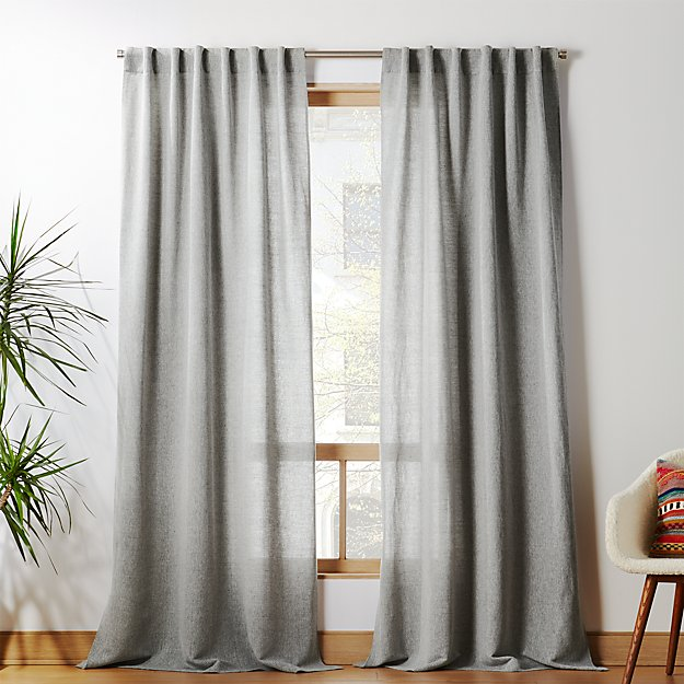 Weekendr Graphite Grey Chambray Curtain Panel - Image 1 of 3