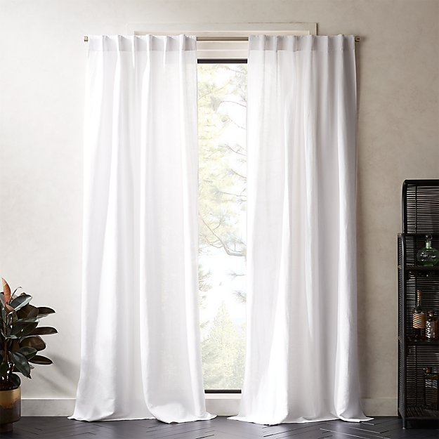Weekendr White Chambray Curtain Panel - Image 1 of 7