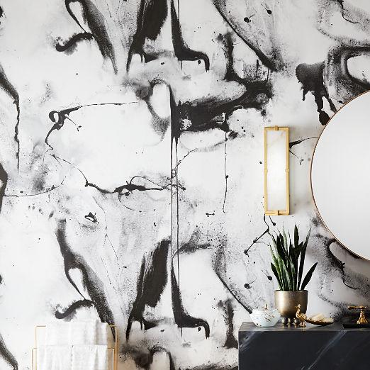 Whirling Dervish Panel White Wallpaper