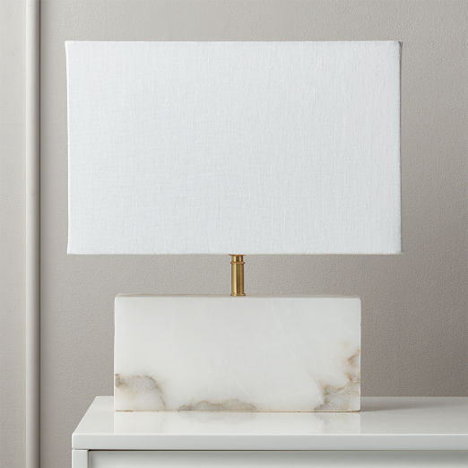 White Alabaster Rectangle Table Lamp