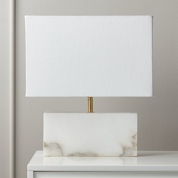 White Alabaster Rectangle Table Lamp - Image 1 of 5
