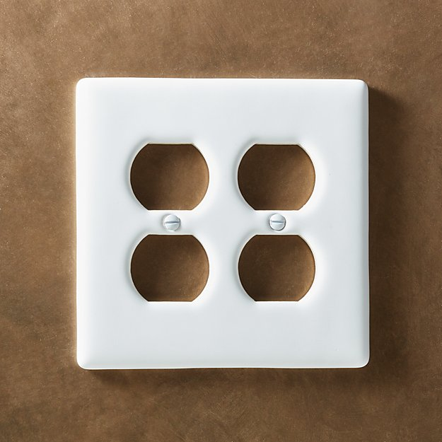 White Ceramic Double Duplex Plate - Image 1 of 9