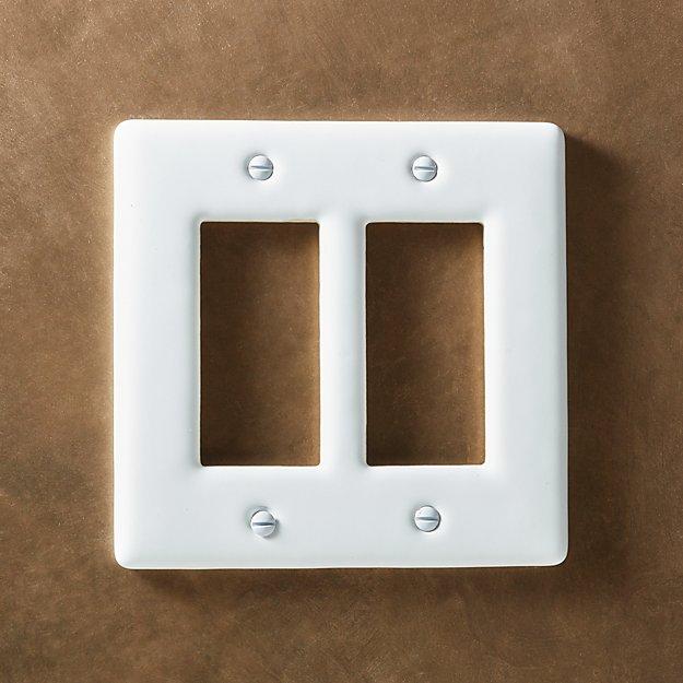 White Ceramic Double Gfci Plate Reviews Cb2