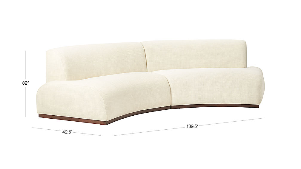 Image with dimension for Moon 2-Piece Pearl Sofa
