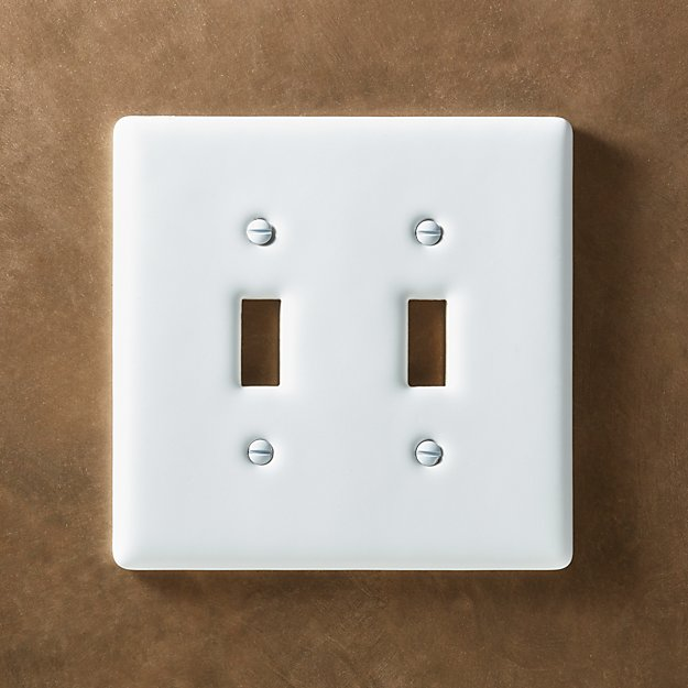 White Ceramic Double Toggle Switch Plate Reviews Cb2