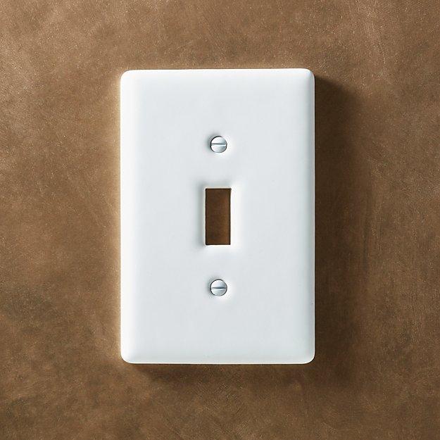 White Ceramic Single Toggle Switch Plate Reviews Cb2