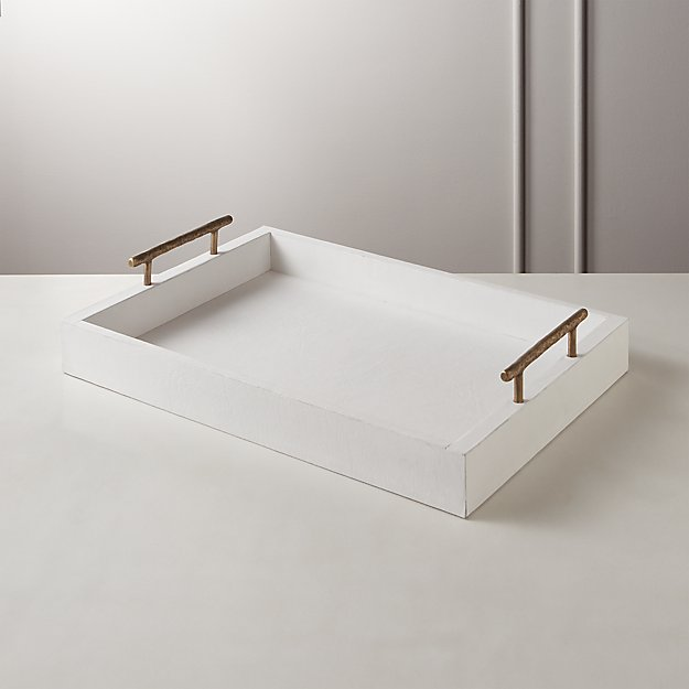 White Leather Tray - Image 1 of 4