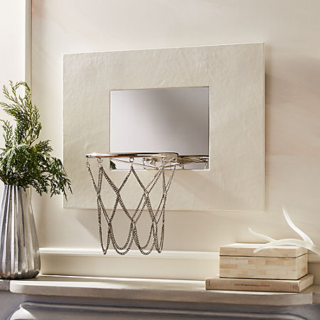 White Leather Basketball Hoop Reviews Cb2