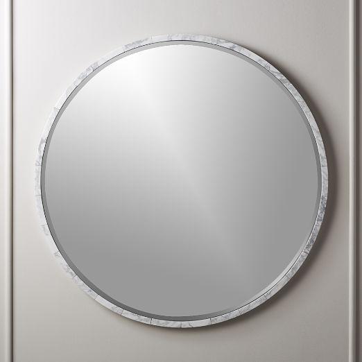 "White Marble Wall Mirror 36"""