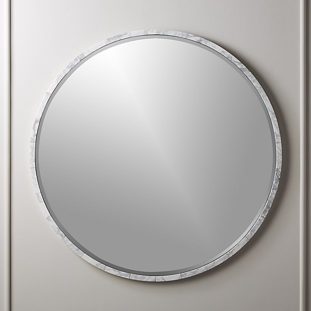 """White Marble Wall Mirror 36"""" - Image 1 of 7"""