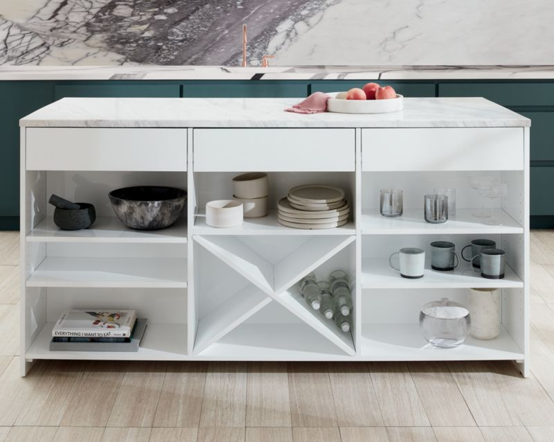 fascinating Cb2 Kitchen Island Part - 7: White Marble Top Island XL