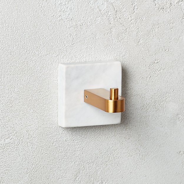 White Marble Towel Hook - Image 1 of 3