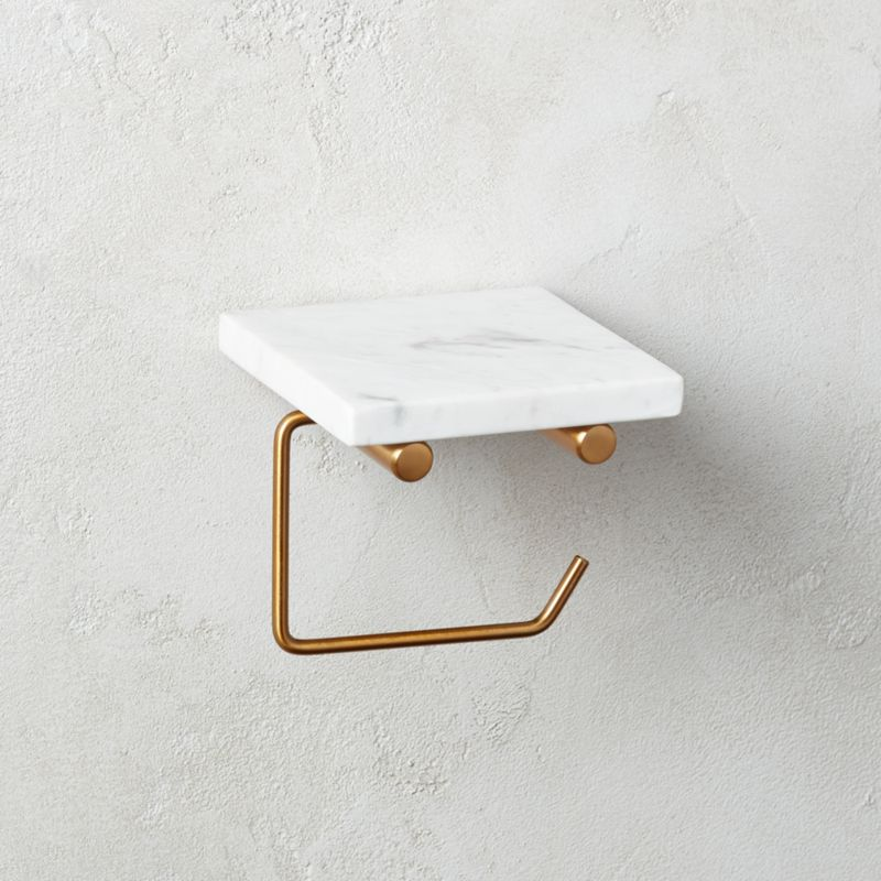 White Marble Wall Mounted Toilet Paper Holder With Shelf Reviews Cb2