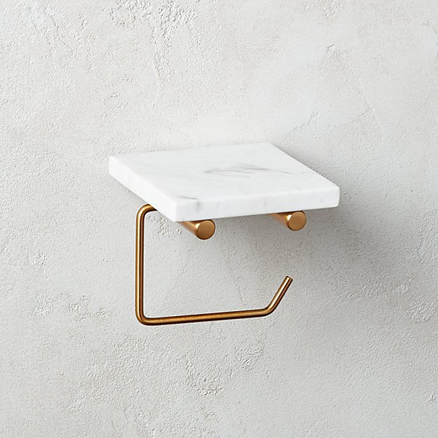 White Marble Wall Mounted Toilet Paper Holder with Shelf - Image 1 of 4